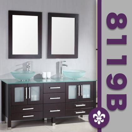 """Cambridge 8119BX 63"""" Solid Wood & Glass Double Vessel Sink Vanity Set with Faucets"""