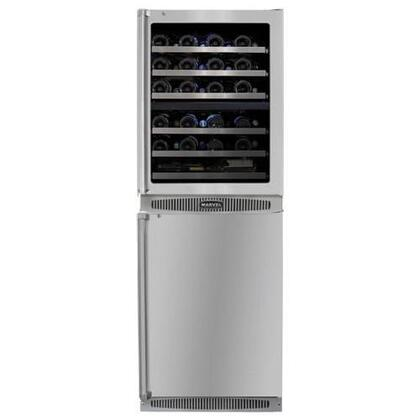 "Marvel MPRO66DZAR-BS-G-L 24"" PRO Double Unit:Stainless steel glass/solid doors"