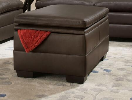 Simmons Upholstery 512297APOLLOESPRESSO Apollo Series Contemporary Faux Leather Wood Frame Ottoman