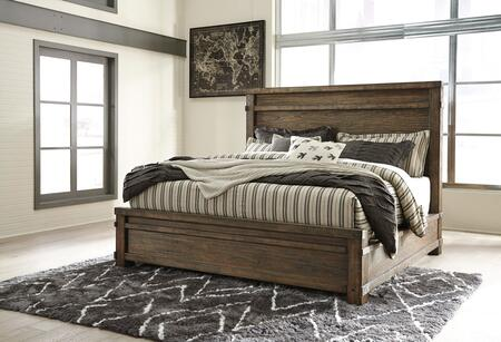 Signature Design by Ashley Leystone Collection B614PANEL X Size Panel Bed with Wire-Brushed Details, Thick Bed Posts and Tall Mansion Styled Headboard in Dark Brown