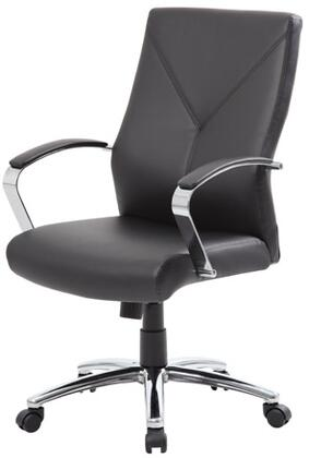 "Boss B10101 Leather Plus Executive Chair with Metal Chrome Plated Arms, Adjustable Tilt Tension Control, 27"" Chrome Base and Hooded Double Wheel Casters"