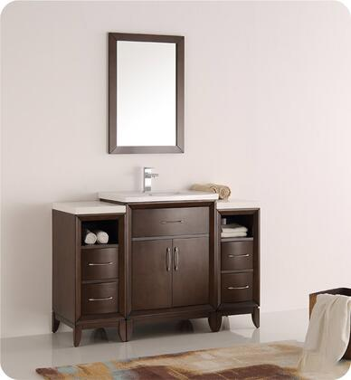 """Fresca Cambridge Collection FVN21-122412 48"""" Traditional Bathroom Vanity with Mirror, 2 Soft Close Doors, Tapered Legs, Integrated Ceramic Sink & Countertop and 2 Side Cabinets in"""