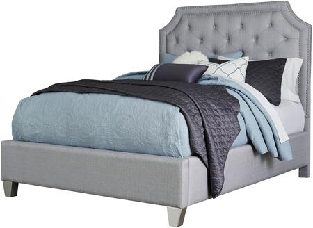 Standard Furniture Windsor Silver Collection 873X-UPHBED Upholstered Panel Bed with Button Tufting, Nailhead Trim Accent, Cove Cornered Headboard Crown and Tapered Block Feet in Grey