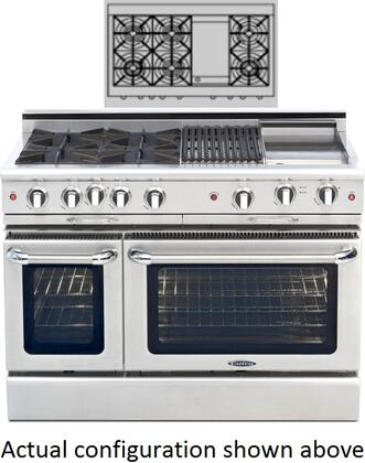 "Capital MCOR484G2N 48"" Culinarian Series Gas Freestanding Range with Sealed Burner Cooktop, 4.9 cu. ft. Primary Oven Capacity, in Stainless Steel"