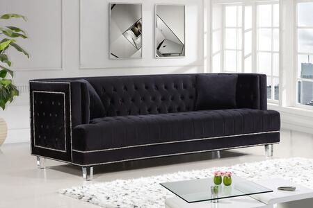 "Meridian Lucas Collection 609X-S 89"" Sofa with Velvet Upholstery, Silver Nail Heads, Tufted Cushions and Contemporary Style in"