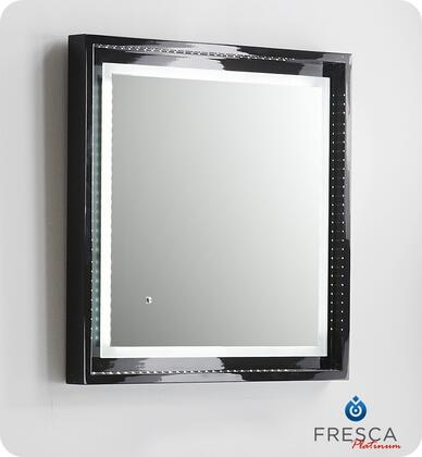 """Fresca Platinum Napoli FPMR7XXXBL XX"""" Bathroom Mirror with LED Lighting, Touch Switch and Fog-Free System in Glossy Black"""