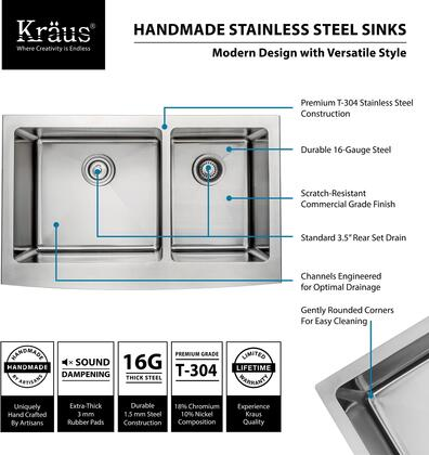 Kraus KHF203 Precision Series Apron Front 60/40 Double-Bowl Kitchen Sink with Stainless Steel Construction, NoiseDefend, and Commercial-Grade Satin Finish