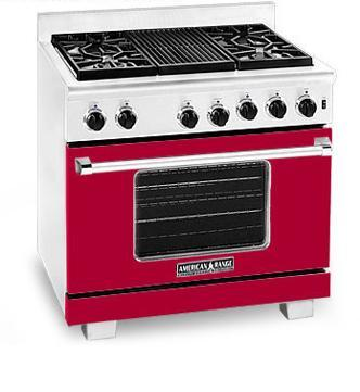 American Range ARR366BR Heritage Classic Series Natural Gas Freestanding Range with Sealed Burner Cooktop, 5.6 cu. ft. Primary Oven Capacity, in Red