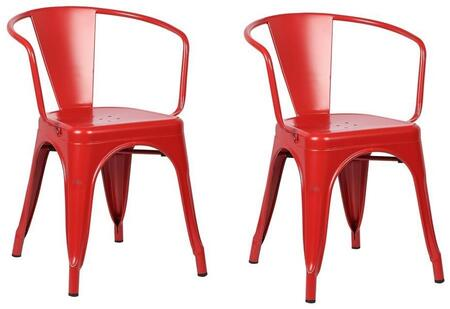 EdgeMod EM113REDX2 Trattoria Series Modern Metal Frame Dining Room Chair