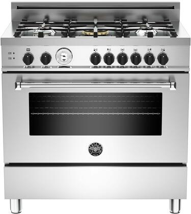 "Bertazzoni Master MAS365GASXTT 36"" Gas Range With 5 Brass Burners, 18,000 BTUs Dual wok Power Burner, 4.4 cu. ft. Gas Convection Oven, Oven Temperature Gauge, Telescopic Glide Shelf in Stainless Steel"