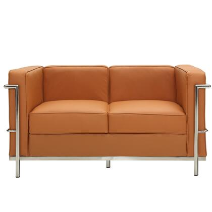 Modway EEI127TAN Charles Series Leather Stationary with Metal Frame Loveseat