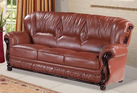 "Meridian Mina 639-S 84"" Sofa with Top Quality Genuine Bonded Leather Upholstery, Rich Mahogany Finish and Removable Backs in"
