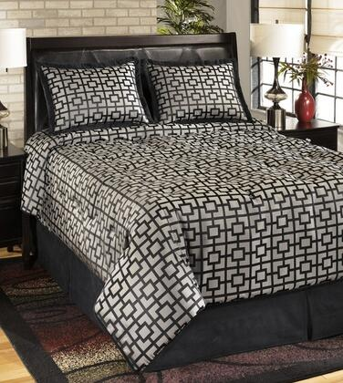 Signature Design by Ashley Maze Q107004 4 PC Size Top of Bed Set Includes 1 Comforter, 2 Shams and 1 Bedskirt with Geometric Design and Polyester Material in Onyx Color