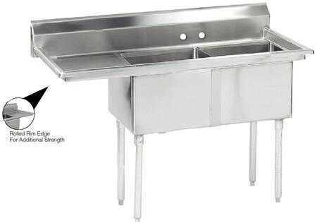 "Advance Tabco FE-2-1812 Lite Series Two-Compartment Fabricated Sink with 18"" x 18"" Bowl and Backsplash in Stainless Steel"