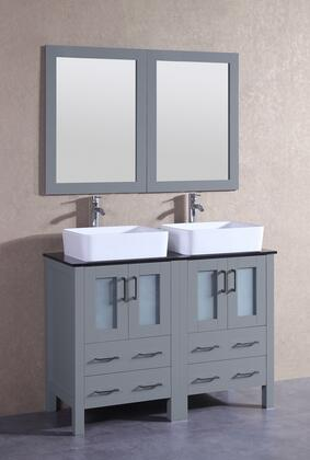 """Bosconi AGR224RCBGX XX"""" Double Vanity with Black Tempered Glass Top, Rectangle White Ceramic Vessel Sink, F-S02 Faucet, Mirror, 4 Doors and X Drawers in Grey"""