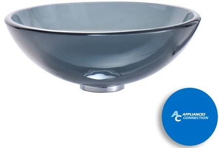 "Kraus CGV1041412MM1007 Singletone Series 14"" Round Vessel Sink with 12-mm Tempered Glass Construction, Easy-to-Clean Polished Surface, and Included Ramus Faucet, Clear Black Glass"