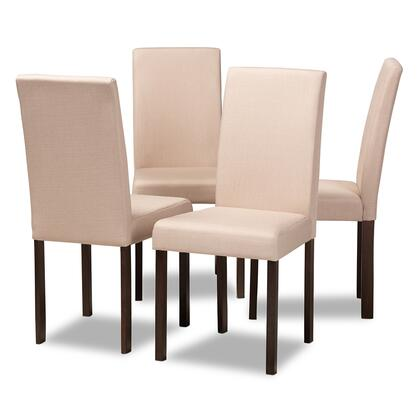 Wholesale Interiors Baxton Studio ANDREWDINING Andrew Dining Chairs with Foam Cushioning, Wooden Legs and Fabric Upholstery