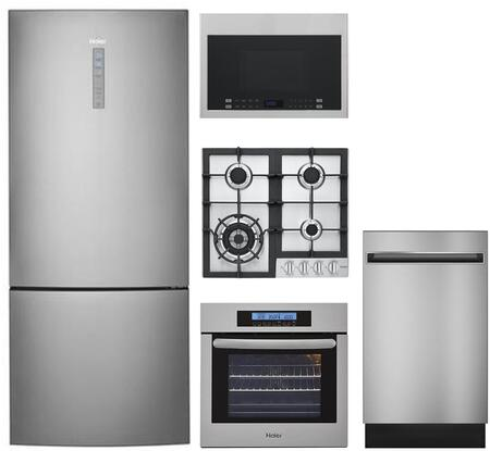Haier 892206 5 piece Stainless Steel Kitchen Appliances Package