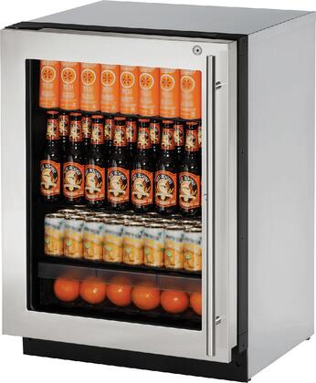 "U-Line U2224RGLxb 24"" 2000 Series Compact Refrigerator with 4.9 cu. ft. Capacity, 3 Tempered Glass Shelves, Convection Cooling System, Digital Touchpad Control, and UV-Protected Glass Door, in"