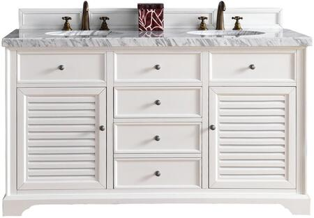"""James Martin Savannah Collection 238-104-V60D-CWH- 60"""" Cottage White Double Vanity with Two Soft Closing Doors, Two Soft Closing Drawers, Antique Pewter Hardware and"""