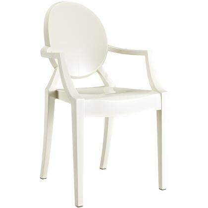 Modway EEI121WHI Casper Series Modern Not Upholstered Polyblend Frame Dining Room Chair