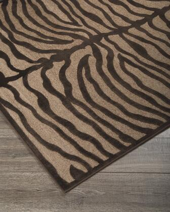 """Milo Italia Erika RG418357TM """" x """" Size Rug with Zebra Design, Machine-Tufted Made, 4mm Pile Height, Viscose Material and Backed with Cotton and Chenille in Brown Color"""