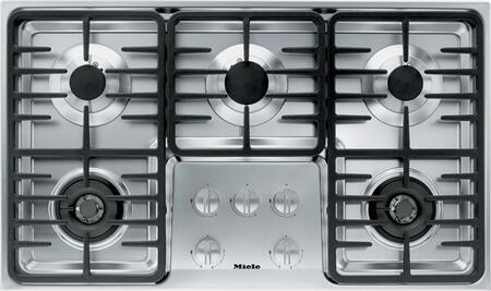 """Miele KM3475 36"""" Cooktop with 5 Sealed Burners, Wok Burner, Ignition Safety Control, Fast Ignition System, Stainless Steel Knobs and 60,600 BTU Total Output: Stainless Steel"""