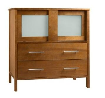 "Ronbow 035831- Minerva 31"" Wood Vanity Cabinet with Two Frosted Glass Sliding Doors and Two Bottom Drawers"