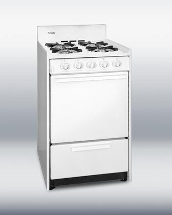 "Summit WNM1107F 20"" Gas Freestanding Range with Sealed Burner Cooktop, 2.5 cu. ft. Primary Oven Capacity, Broiler in White"
