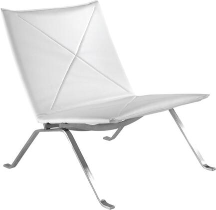 Fine Mod Imports FMI10042WHITE Pika Series Leather Lounge with Metal Frame in White