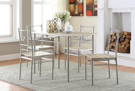 Coaster 10003 5 PC Dining Set with 4 Side Chairs, Rectangular Table, Vinyl Top, Tapered Legs and Metal Frame in