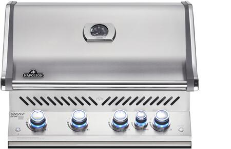 "Napoleon BIPRO500RBXSS-2 31"" Prestige PRO 500 Series Built-In Grill with 4 Stainless Steel Bottom Burners, 1 Infrared Rear Burner, 760 sq. in. Total Cooking Area, and Rotisserie, in Stainless Steel"