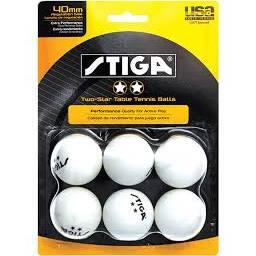 Stiga T142 Recreational Quality Family Play Tennis Table 6-Pack Two-Star Balls