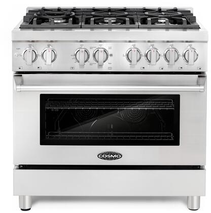 Cosmo COSDFRx Pro-Style Dual Fuel Range with Sealed Burners, Electronic Ignition, Cast Iron Grates, Triple Layer Oven Glass and Dual Oven Lights, in Stainless Steel