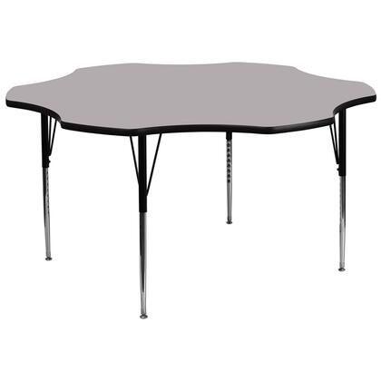 """Flash Furniture XU-A60-FLR-XX-T-A-GG 60"""" Flower Shaped Activity Table with Thermal Fused Laminate Top and Standard Height Adjustable Legs"""