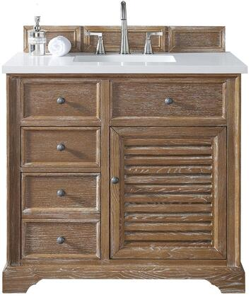 "James Martin Savannah Collection 238-104-5511- 36"" Driftwood Single Vanity with Single Soft Closing Door, Two Soft Closing Drawers, Antique Pewter Hardware and"