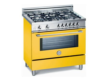 Bertazzoni X365PIRGI Professional Series Dual Fuel Freestanding Range with Sealed Burner Cooktop, 4 cu. ft. Primary Oven Capacity, Storage in Yellow