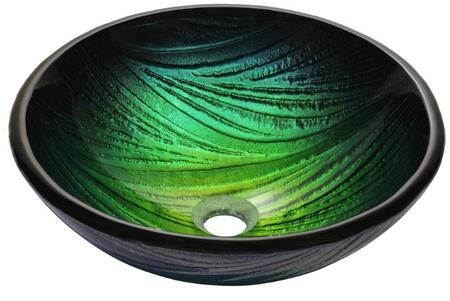 """Kraus CGV39119MM1007 Nature Series 17"""" Nei Round Vessel Sink with 19-mm Tempered Glass Construciton, Easy-to-Clean Polished Surface, and Included Ramus Faucet"""