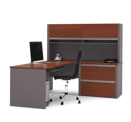 """Bestar Furniture Connexion Collection 93867- 71"""" L-shaped Workstation with Two Oversized Drawers, Two Flip Up Doors and Keyboard Tray in"""