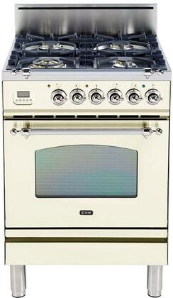 """Ilve UPN60DVGGX 24"""" Nostalgie Series Freestanding Gas Range with 4 Semi-Sealed Burners, 2.4 cu. ft. Oven Capacity, Full Width Warming Drawer, Digital Clock and Timer, 2 Oven Racks, Chrome Trim, and Flame Failure Safety Device"""