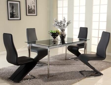 "Chintaly TARABLK5PC TARA DINING 5 Piece Set - Table with 4 ""Z"" Style Side Chair"