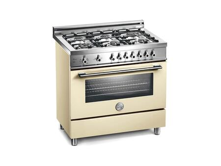 Bertazzoni X366GGVCR Professional Series Natural Gas Freestanding Range with Sealed Burner Cooktop, 3.6 cu. ft. Primary Oven Capacity, Storage in Cream