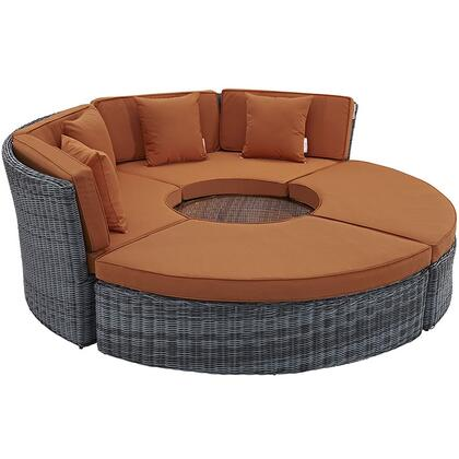 "Modway Summon Collection EEI-1995-GRY- 64"" Circular Outdoor Patio Sunbrella Daybed with Sunbrella Fabric, Synthetic Rattan Weave and Powder Coated Aluminum Frame in"