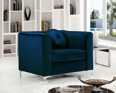 """Meridian Isabelle Collection 612X-C 39"""" Chair with Velvet Upholstery, Chrome Legs, Piped Stitching and Contemporary Style in"""