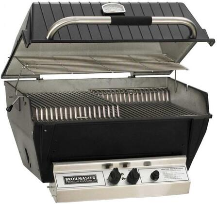 "Broilmaster P4XFx 24"" Premium Series Built-In Grill with 473 sq. in. Grilling Surface, 2 Bowtie Burners, Warming Rack, and Aluminum Construction, in Black"