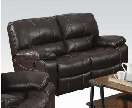 "Acme Furniture Kimberly Collection 81"" Motion Loveseat with Tight Cushions, Split Back Cushions, Reclining Mechanism, Pillow Top Arms and Leather-Air Upholstery in Brown Color"