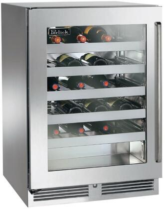 """Perlick HP24WS33xC 24"""" Signature Series Indoor Wine Cooler with 40 Bottle Capacity, 1000 BTU Variable Compressor, RapidCool Refrigeration System, Stainless Steel Interior and Classic Handle, in Stainless Steel with Glass Door and"""