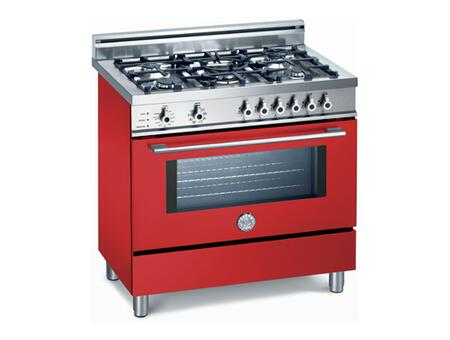 Bertazzoni X365PIRRO Professional Series Dual Fuel Freestanding Range with Sealed Burner Cooktop, 4 cu. ft. Primary Oven Capacity, Storage in Red