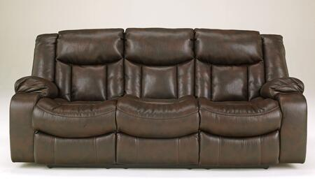 Signature Design by Ashley Carnell 103008X Reclining Sofa with Heavy Weight Faux Leather Upholstery, Shaped Chaise Seating and Durable Metal Drop-In Unitized Seat Boxes in Brown