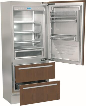 """Fhiaba FI36BDI- 36"""" Integrated Series Bottom Freezer Built In Refrigerator with 19.5 cu. ft. Capacity, Double Freezer Drawers, Tri Evaporator, Ice Maker, TotalNoFrost and OptiView: Panel Ready with"""